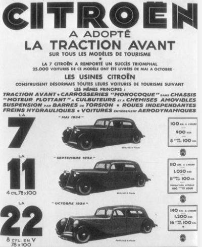 Citroën traction Avant. Publicidad Citroën 22 CV.