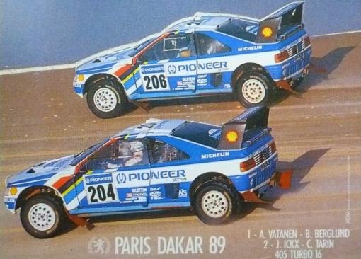 Peugeot 405 T16 Grand Raid. Ari Vatanen y Jacky Ickx. Dakar 1989