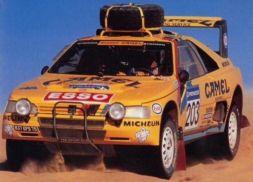 Peugeot 405 T16 Grand Raid. Air Vatanen. Paris Dakar 1990.