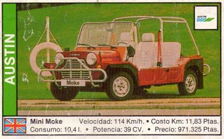Austin Mini Moke. Cromo año 1.989